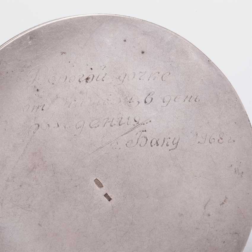 Silver powder box with a dedicatory inscription - photo 5