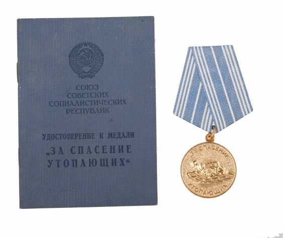 """Medal """"For the rescue of drowning"""" documents - photo 1"""