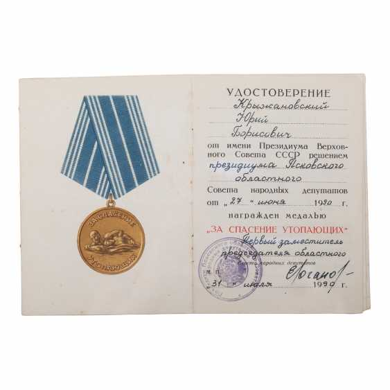 """Medal """"For the rescue of drowning"""" documents - photo 4"""