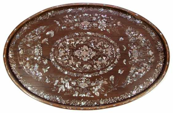 Oval tray made of wood with rich mother of Pearl inlays