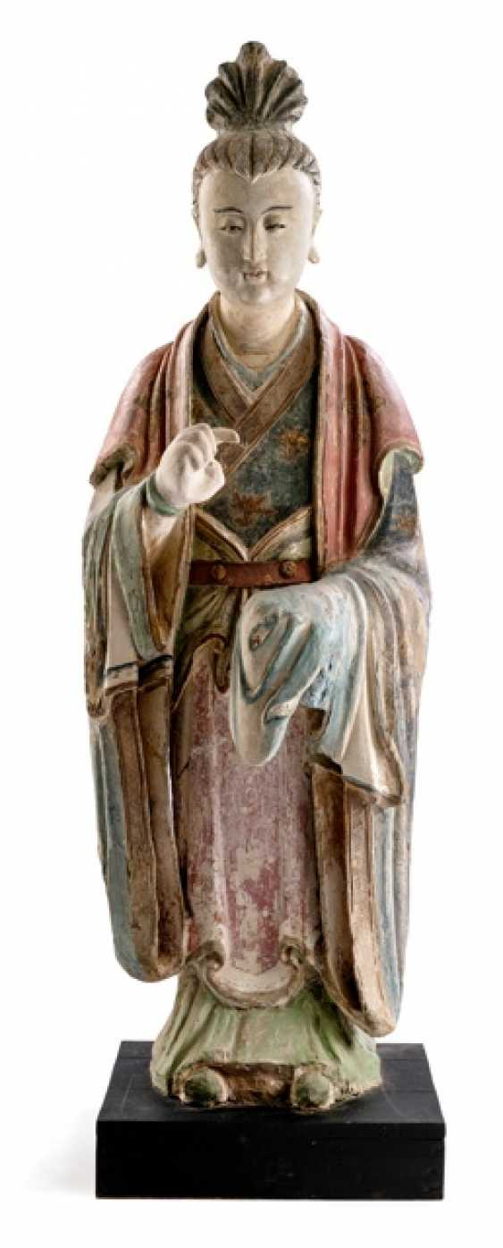 Rare large Stucco figure of a standing lady with colored version
