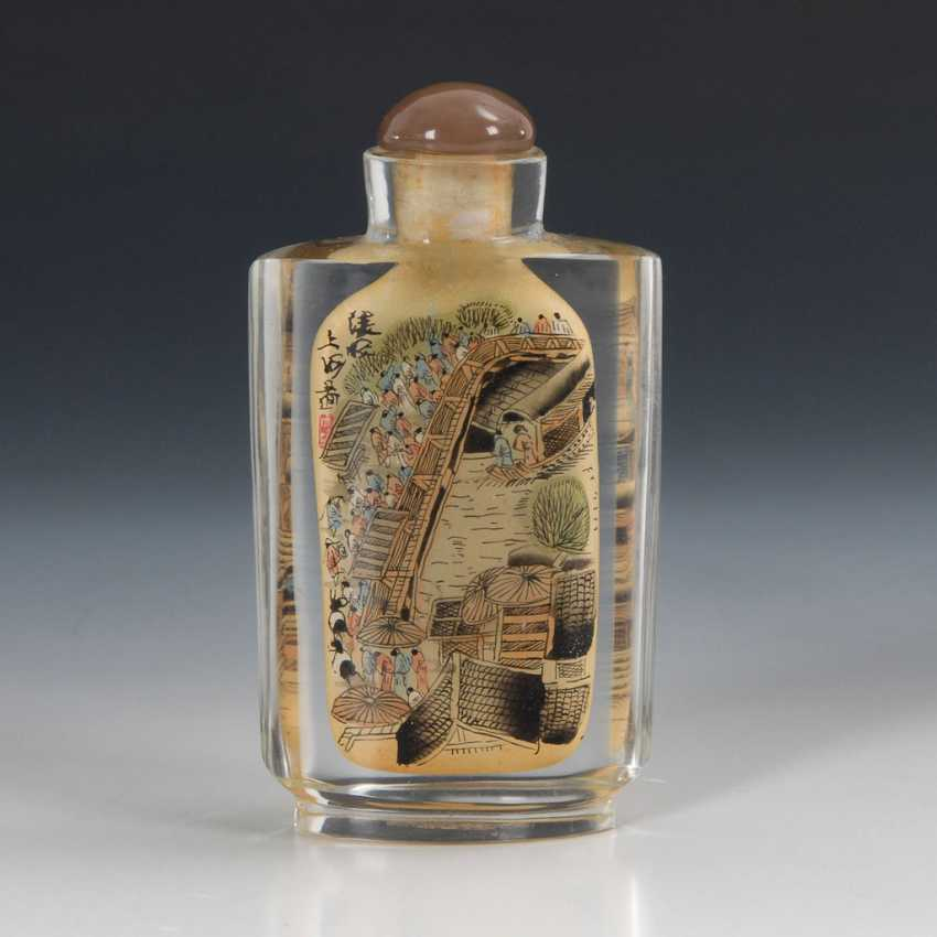 Snuffbottle glass with interior painting. - photo 2