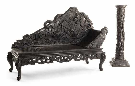Two richly carved armchairs, side chairs, daybed, column, and table with marble top - photo 2