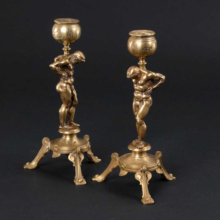 Pair of bronze chandelier with Atlas figures un - photo 1