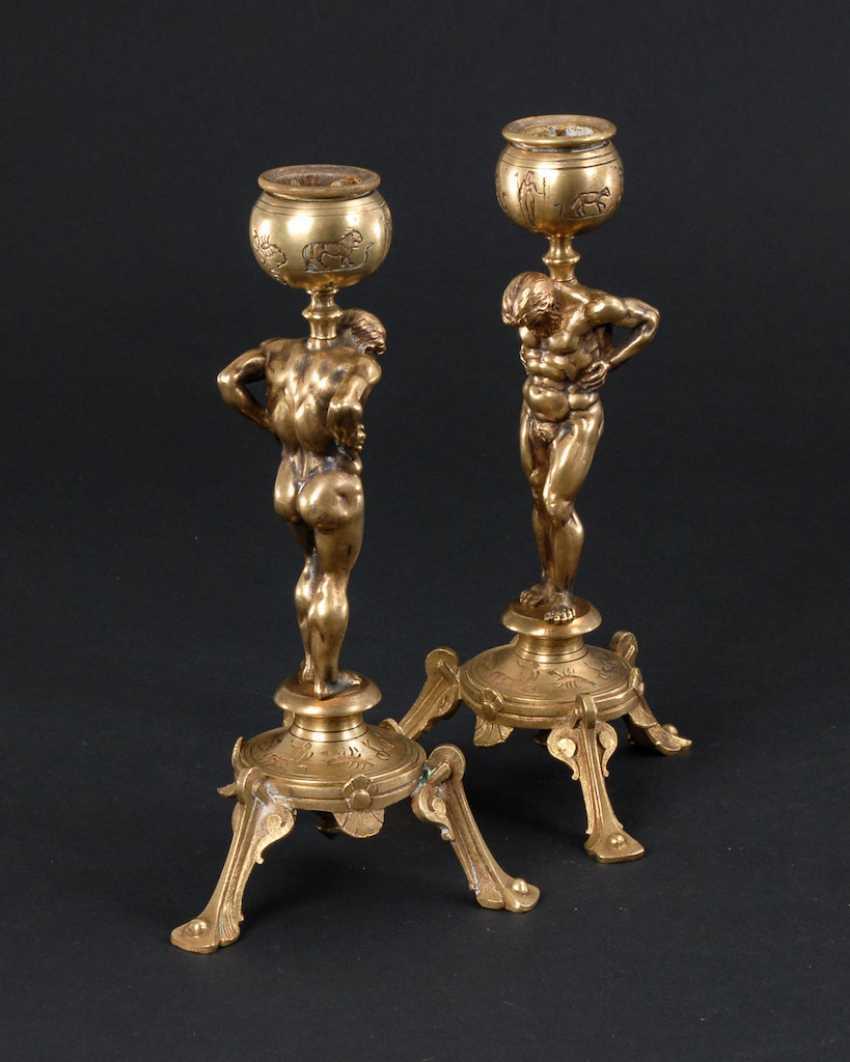 Pair of bronze chandelier with Atlas figures un - photo 3
