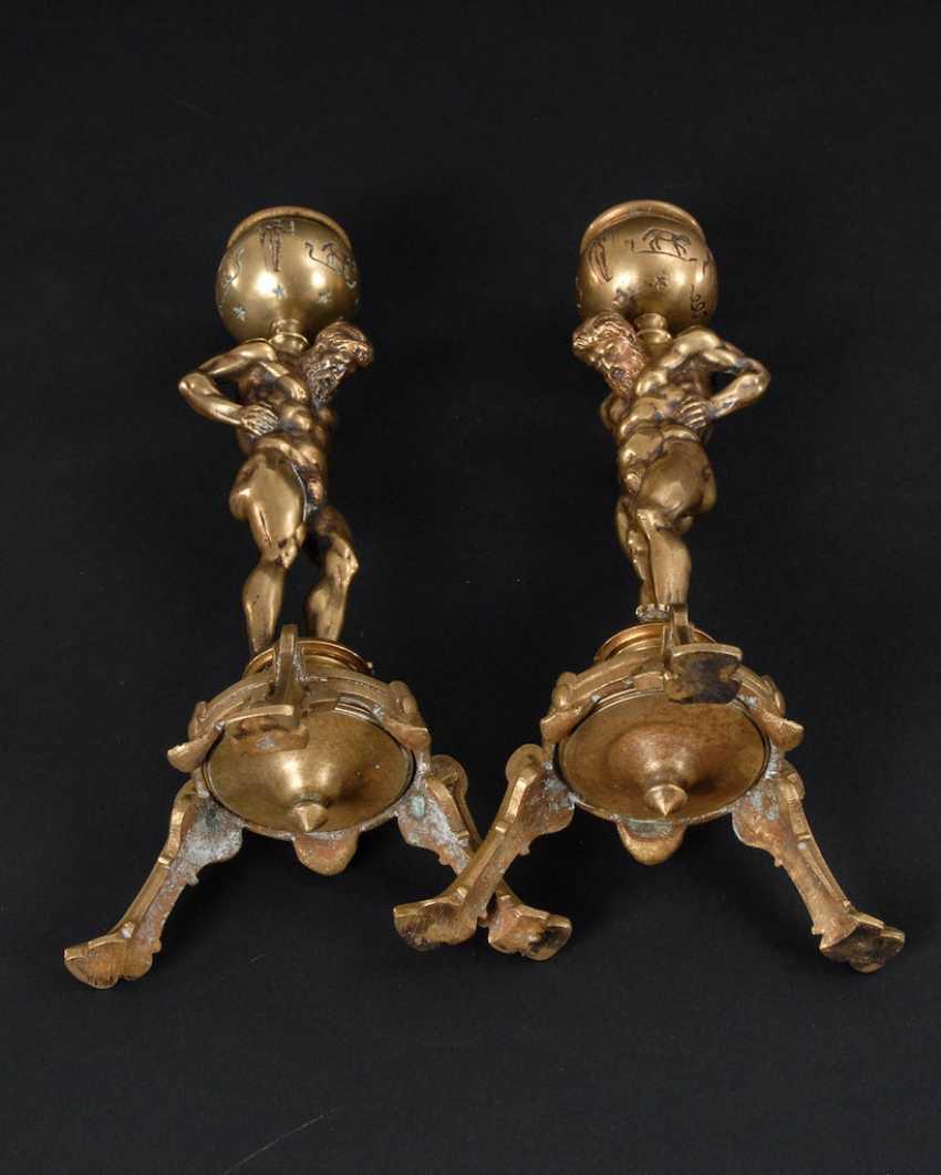 Pair of bronze chandelier with Atlas figures un - photo 4