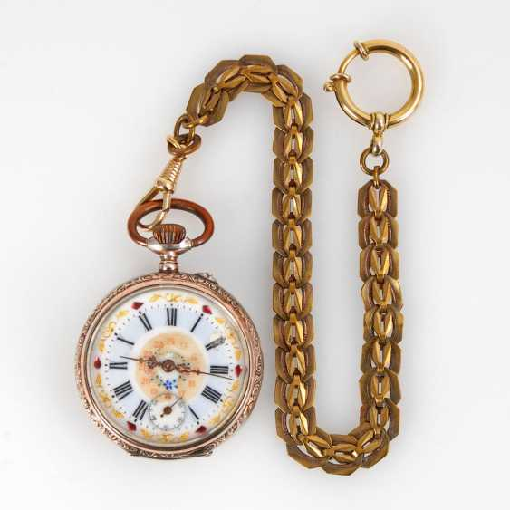 Silver pocket watch with watch chain. - photo 1