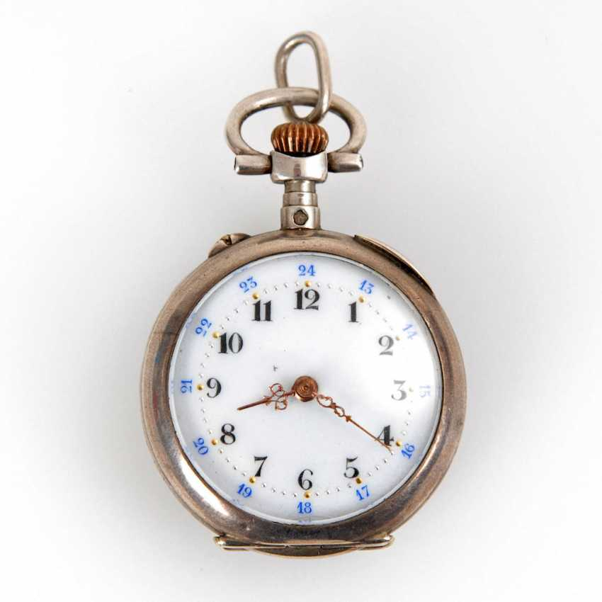 Silver ladies pocket watch with blue Ema - photo 1