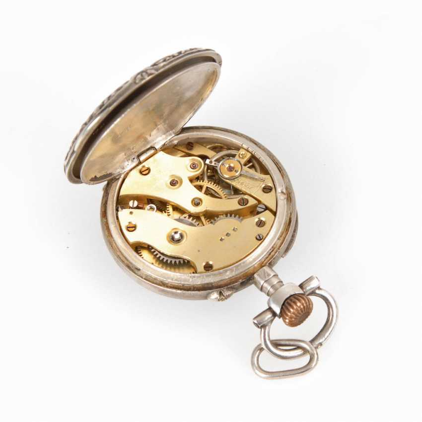 Silver ladies pocket watch with blue Ema - photo 2
