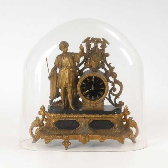 Figure pendulum clock under glass fall. - photo 1