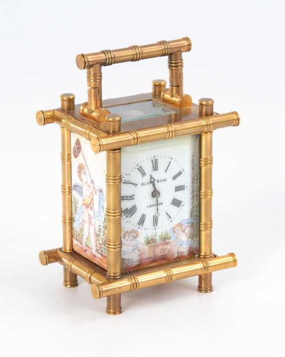 Small carriage clock with cherubs painting. - photo 1