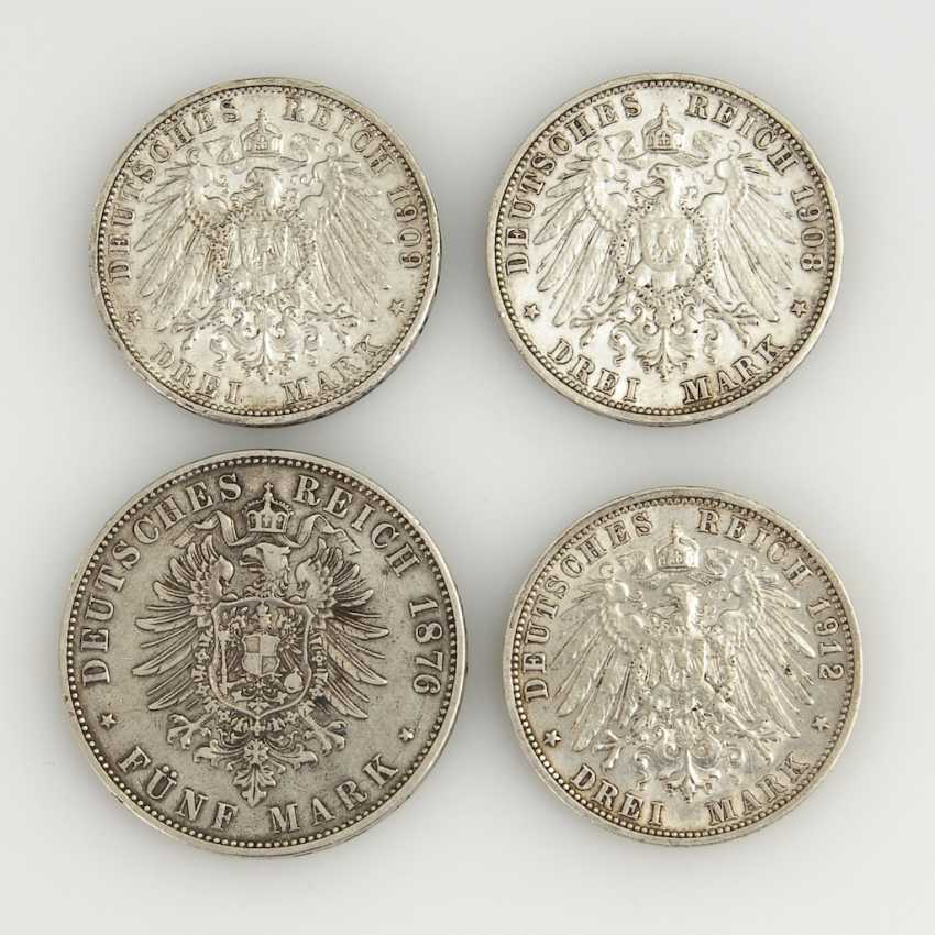 4 Silver Coins From The German Empire. - photo 2