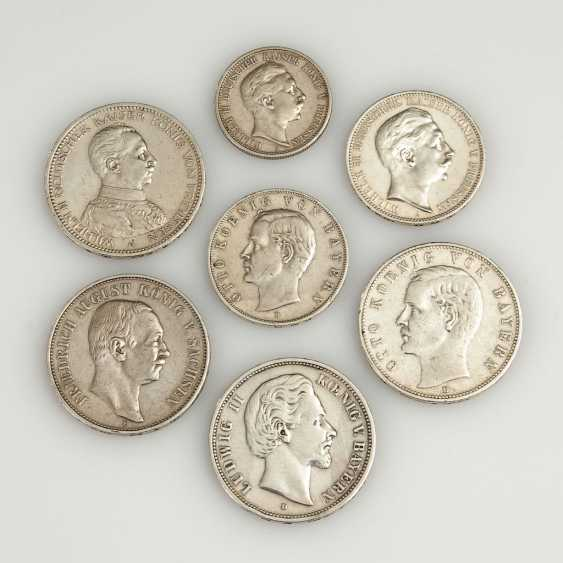 7 Silver Coins From The German Empire. - photo 1