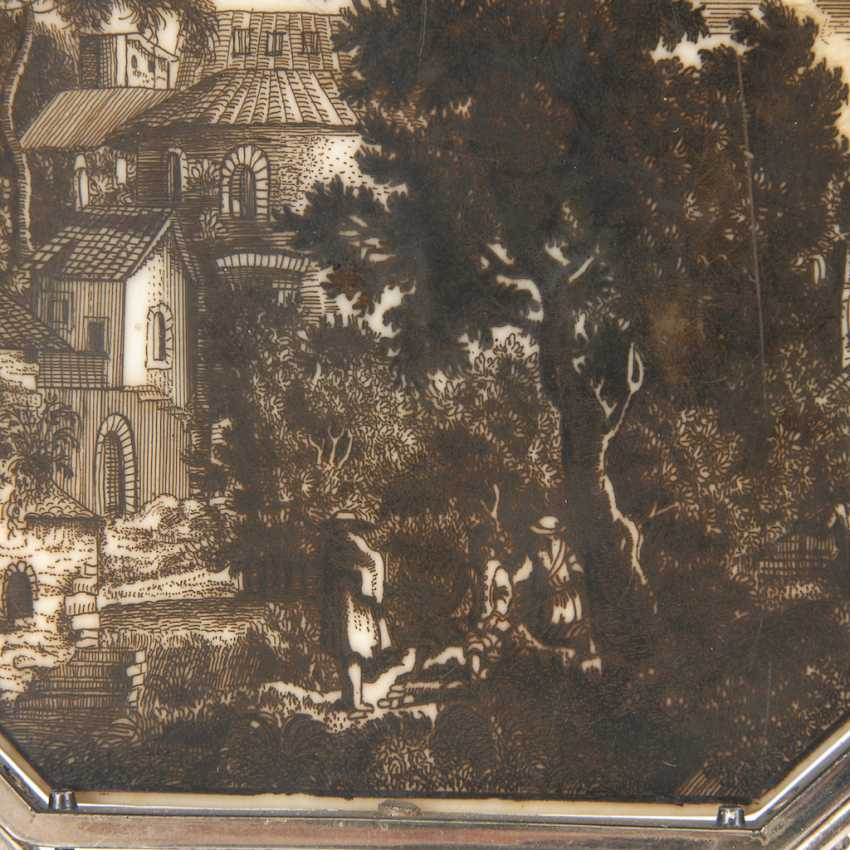 'estampe landscape miniature on ivory - photo 2