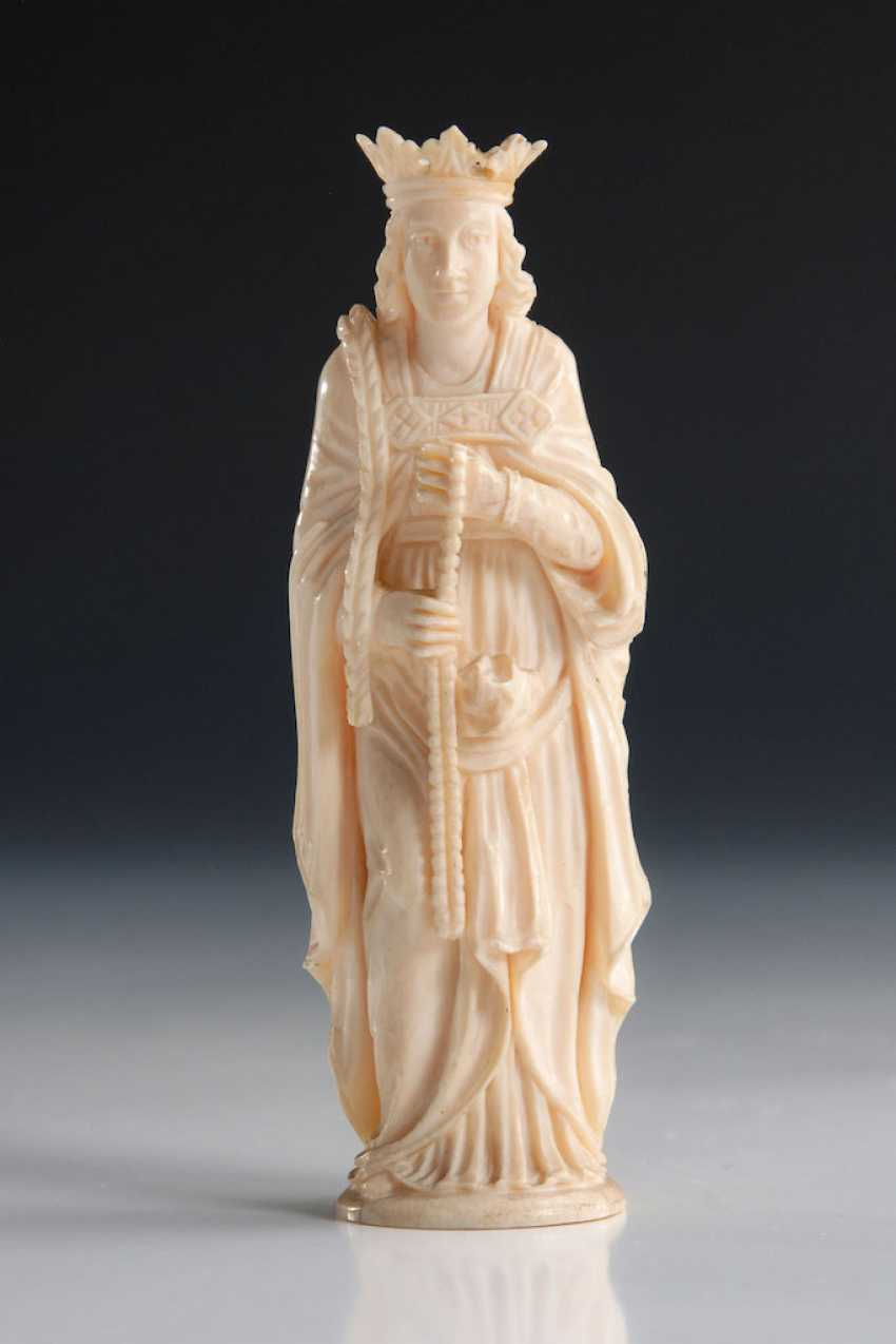 Ivory Statuette of Mary with the Rose - photo 1