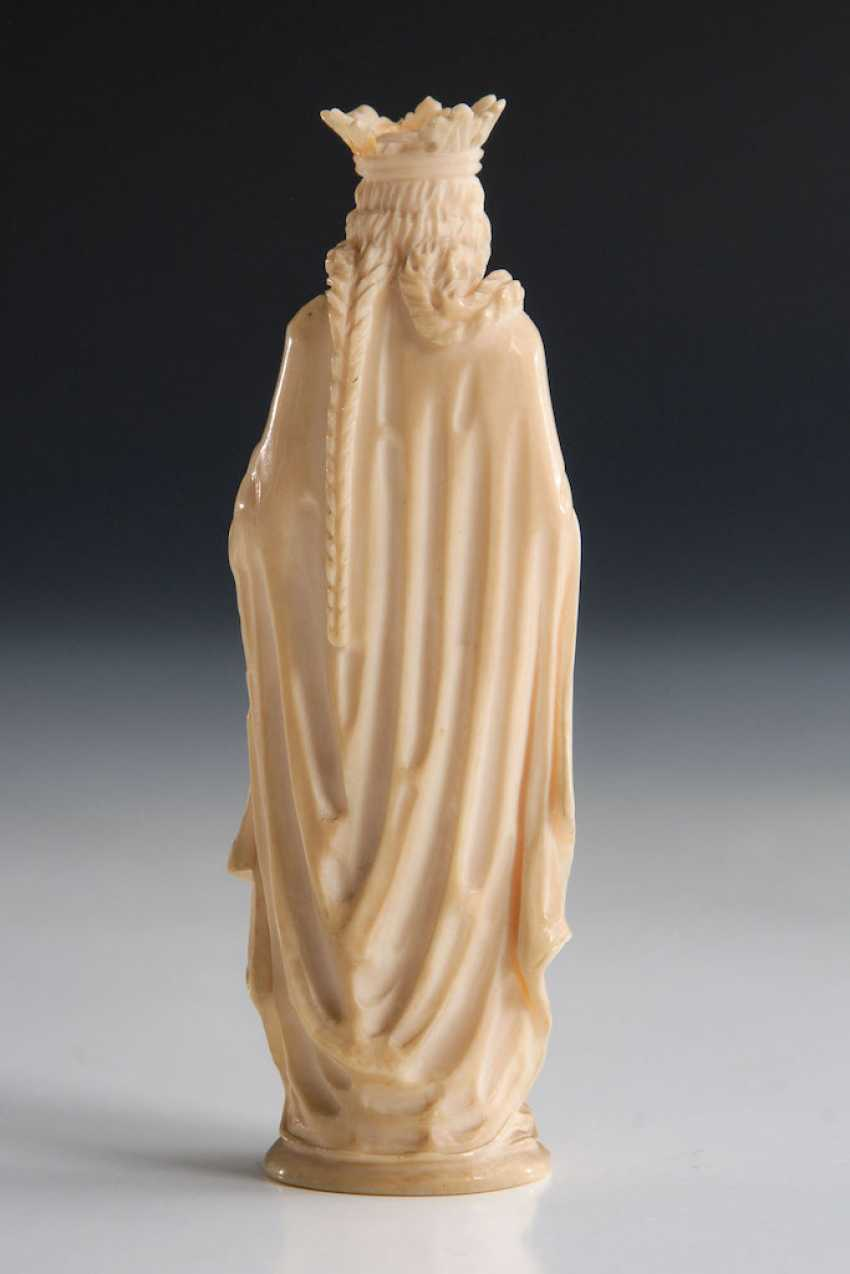 Ivory Statuette of Mary with the Rose - photo 3