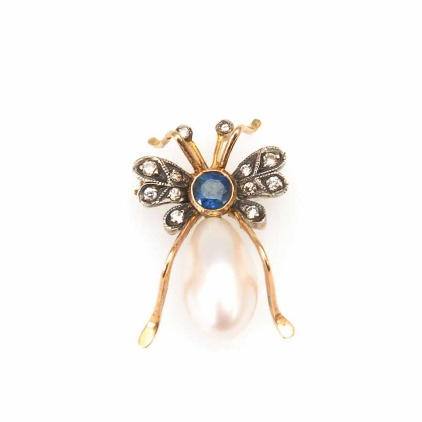 Insect brooch with cultured pearl, sapphire - photo 1