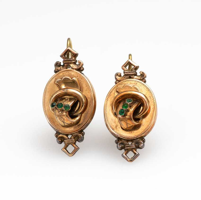 Historicism drop earring pair with green St - photo 1