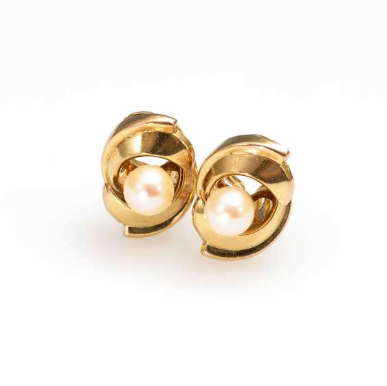 Ohrklipp Pair with cultured pearl. - photo 1