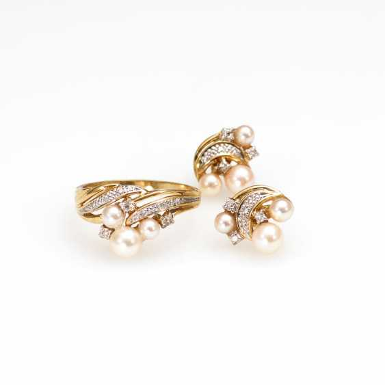 Ring and earrings pair with cultured pearls - photo 1