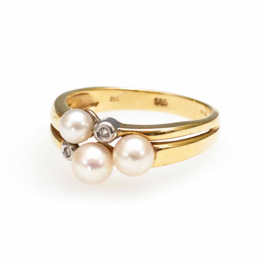 Ring with cultured pearls. - photo 1