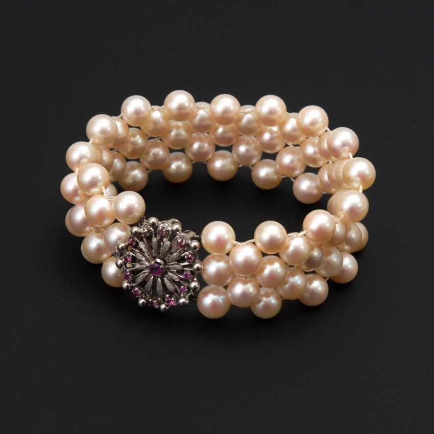Wide bracelet with cultured pearls and CID - photo 1
