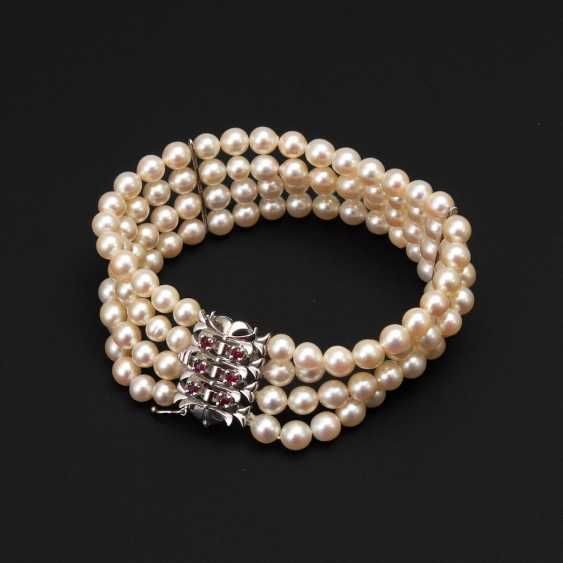4-row cultured pearl bracelet with ruby - photo 1