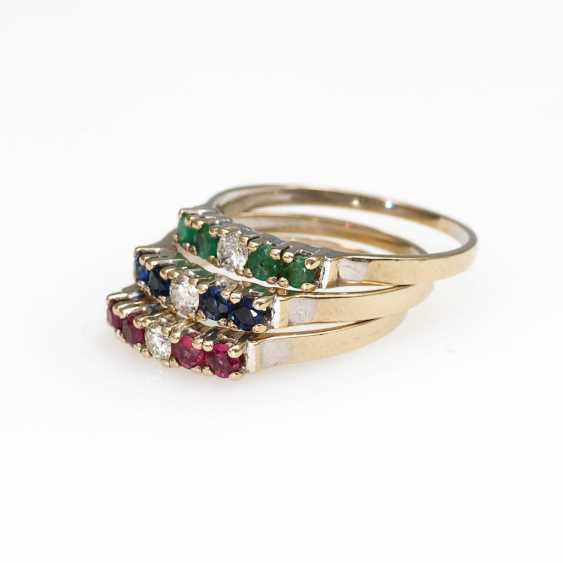 3 stack rings with different stone - photo 1