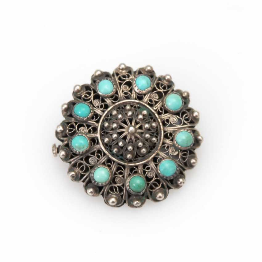 Brooch with turquoise. - photo 1