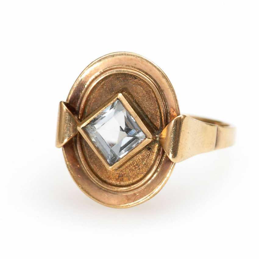 Ring with light blue Imitation. - photo 1
