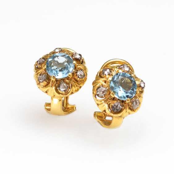 Ohrklipp Pair with aquamarine and diamond - photo 1