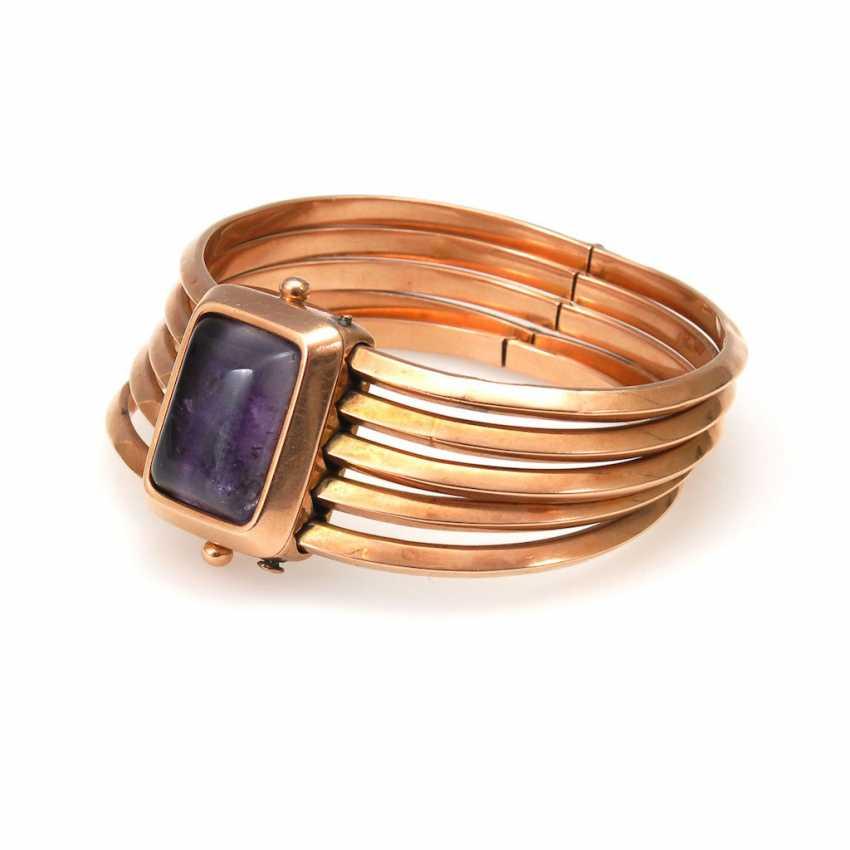 Large, 5-row bangle bracelet with Amethyst - photo 1