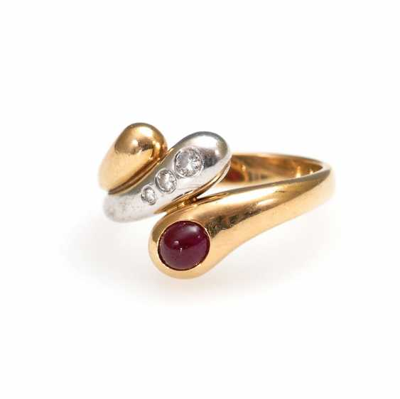 Heavy Ring with ruby and diamonds. - photo 1