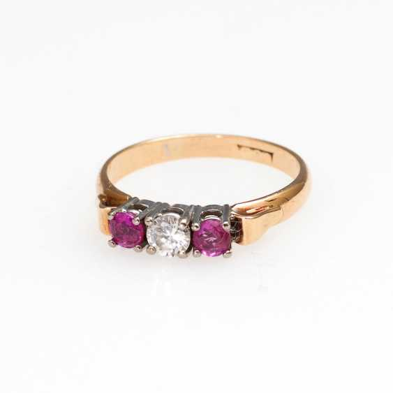 Ring with rubies and brilliant. - photo 1