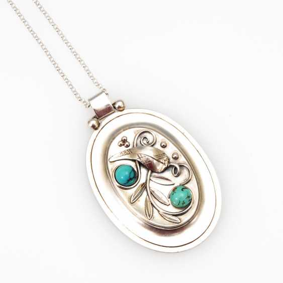 Art Deco pendant with Turquoise on a chain - photo 1