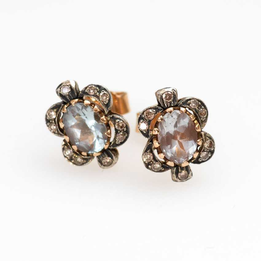 Stud earrings pair with aquamarine and Brilla - photo 1