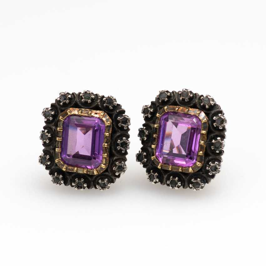 Ohrklipp Pair with Amethyst and Diamante - photo 1