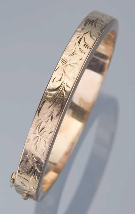 Engraved Gold Bangle Bracelet. - photo 2