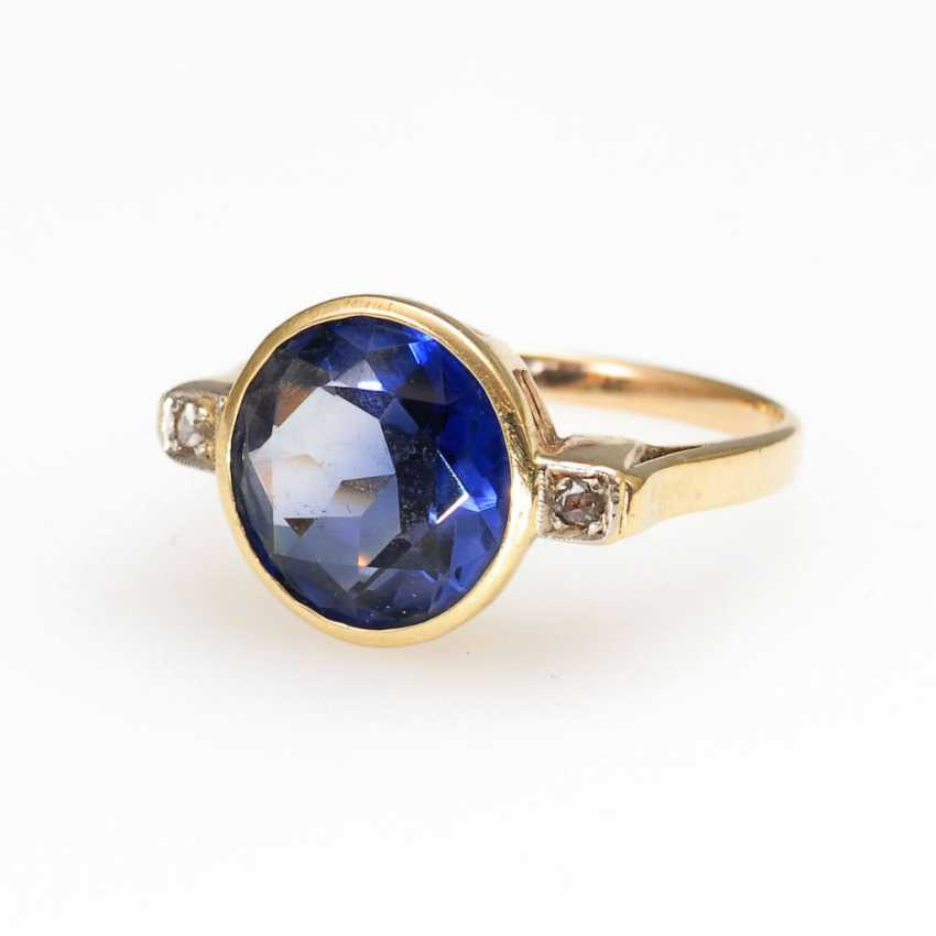 Ring with sapphire synthesis? and Diamantros - photo 1