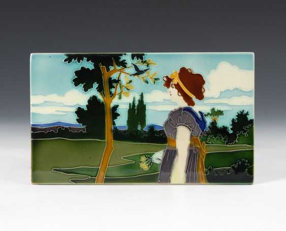 Art Nouveau tile with woman in Sommerlan - photo 1