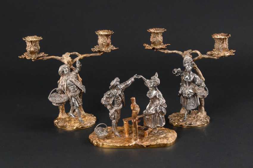 Paar Teilvergoldete Silber Kandelaber M Auktionskatalog 94