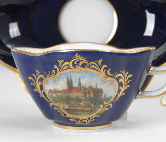 Quatrefoil Cup and saucer with cobalt Fund, MEISSEN. - photo 2