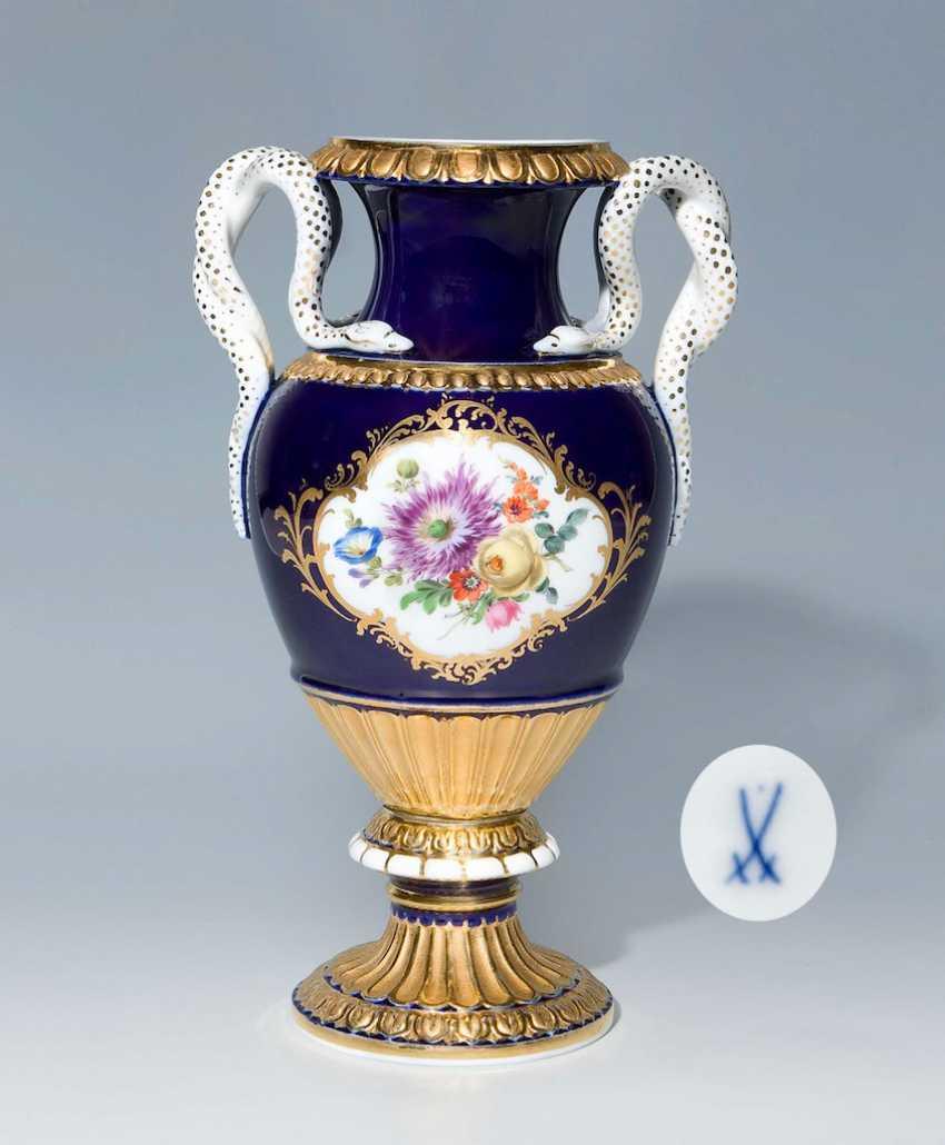 Cobalt Snake Handle Vase. - photo 1