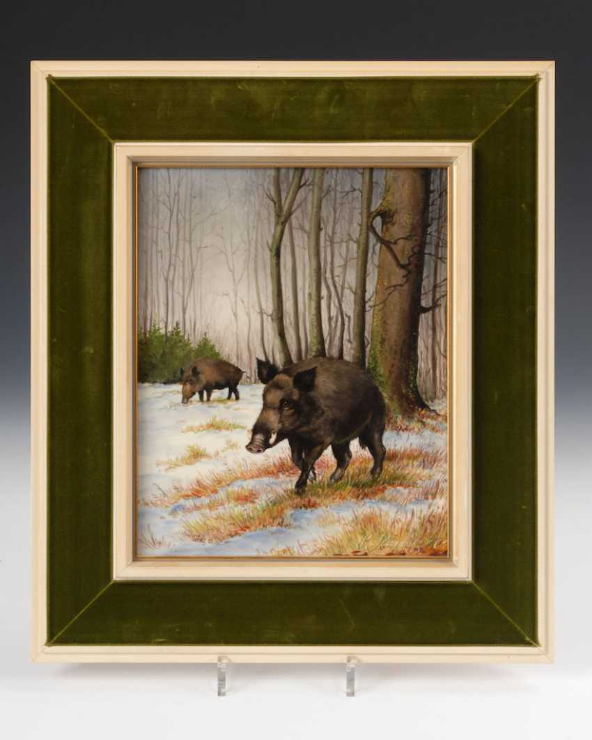Porcelain Painting: Wild Boars. - photo 1