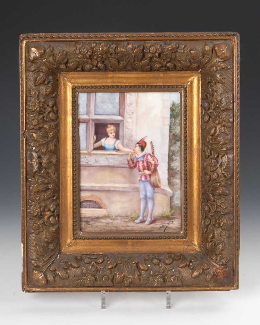 Porcelain painting: cavalier at the window. - photo 1
