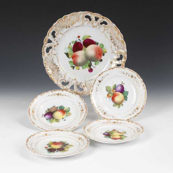 1 + 4 plates with fruit painting. - photo 1