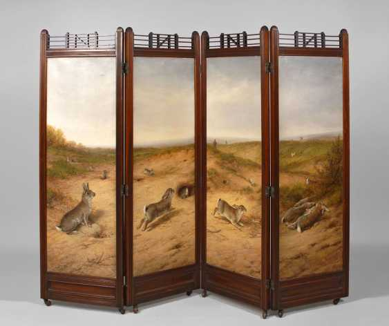 Four rabbit paintings in a folding screen. - photo 1
