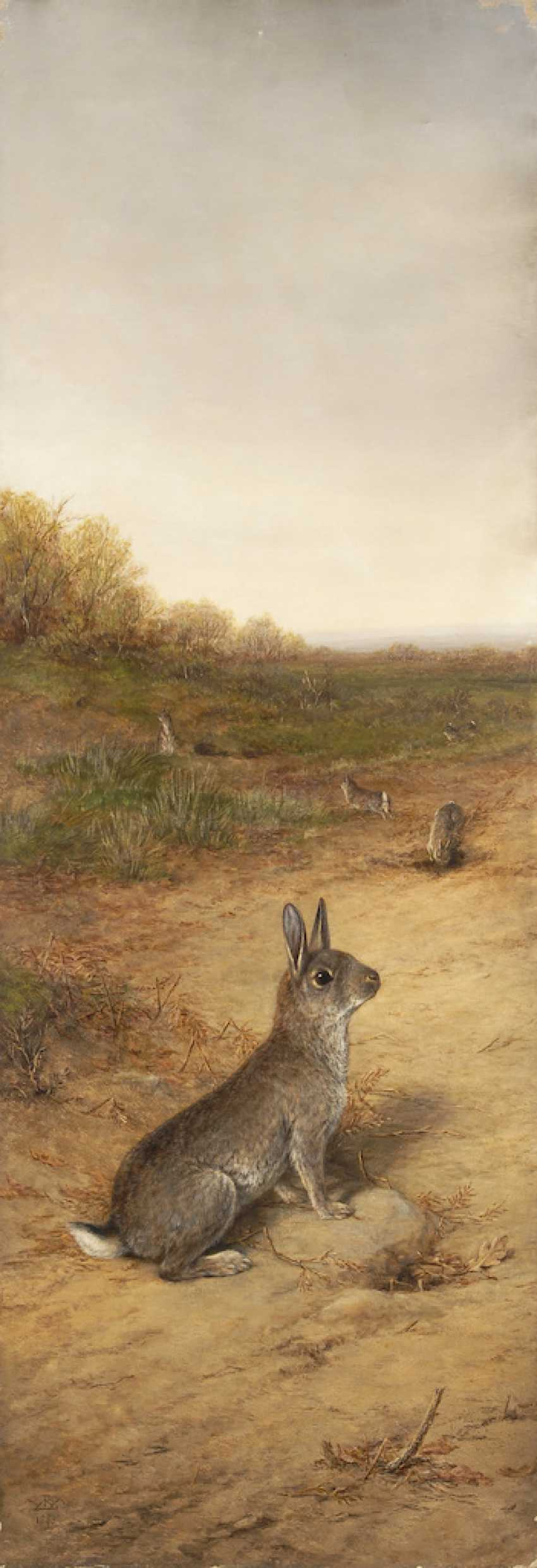 Four rabbit paintings in a folding screen. - photo 2