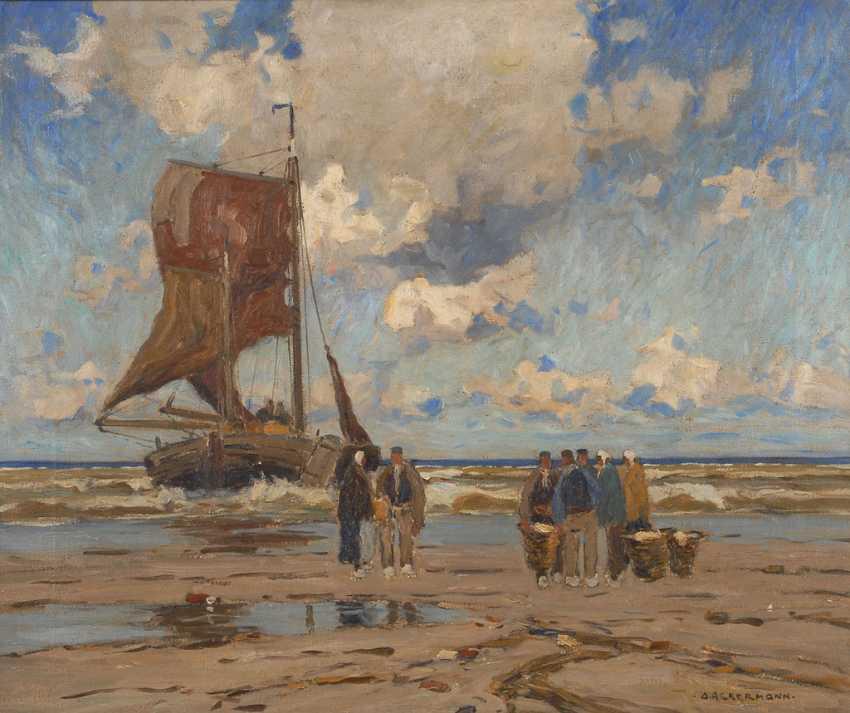 ACKERMANN, Otto: fishermen on the beach. - photo 1