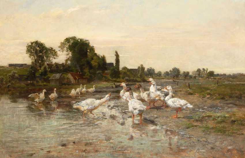 BAISCH, Hermann: flock of Geese on the Creek. - photo 1